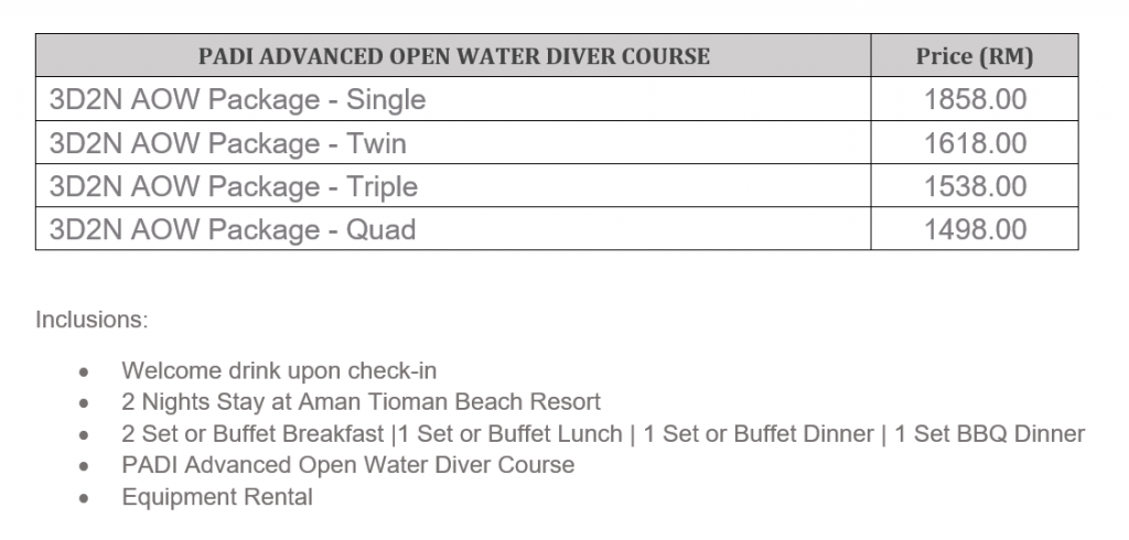 padi courses : advance open water price